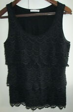 Ladies Target Size 12 Top Black Lace Front Overlay Sleeveless Cotton Blend