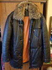 Sergio Grazzini leather coat racoon fur