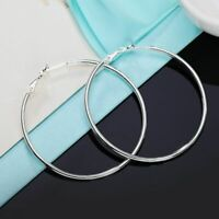 Women Real 925 Sterling Silver Thin Solid Large Hoop Earrings 50-80mm Classic