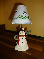 "Snowman Tea Light Holder With Lamp Shade  6 1/2"" Winter Holiday"