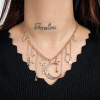 Fashion Star Moon Pendant Tassel Necklace Shiny Crystal Choker Women Jewelry