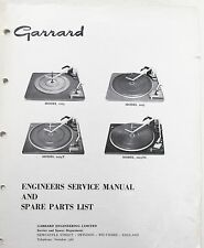 EXPLODED VIEW PARTS LIST, SERVICE MANUAL FOR GARRARD 1025, 2025 SERIES TURNTABLE