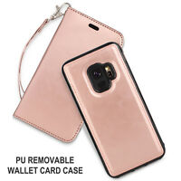 Elegant Rose Gold For Women Folio Phone Wallet Case Cover For Samsung Galaxy S9