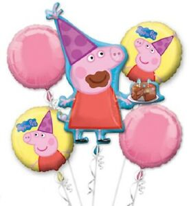 Peppa Pig 5pc Bouquet Birthday Party Foil Balloons Decorations