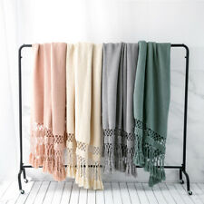 Knitted Blanket Tassel Fringe Bed Sofa Couch Throw Warm Soft Blankets New