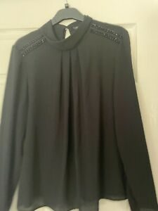 Marks and Spencer Black Beaded Top Size 14