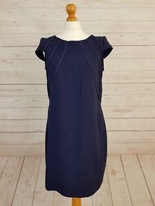 Closet Women's Navy Blue Cap Sleeve Crew Neck Zip Back Fitted Dress Size 14
