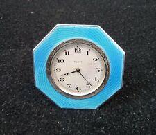 Birmingham Esmalte Guilloche Art Deco Plata Maciza Reloj de 8 días 1929 con/sin