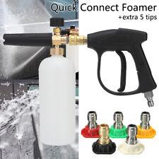 High Pressure Washer Gun 3/8'' Foam Lance Cannon + 5 Spray Tip Car Clean