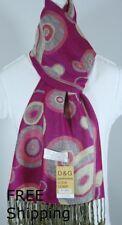 DG Women's Pashmina Scarf Shawl Wrap*Circle Fuschia Gray Silk Cashmere.Soft.012