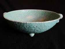 "ART DECO SHORTER & SONS 'PERIOD POTTERY' SEA GREEN TEXTURED 10"" FRUIT BOWL 30's"