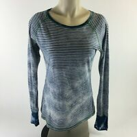 Prana Long Sleeve T Shirt Striped Blue Crew Neck Stretch Top Womens M Yoga