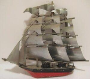 Old Unusual Ornate Miniature Lead Sailing Ship w/ Aluminum Layered Sails - Japan