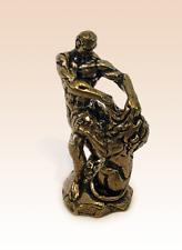 Miniature Bronze Figurine Samson tearing lion's mouth sculpture art hand rare -