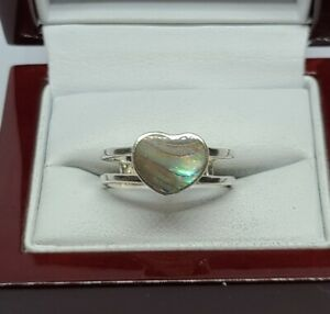 925 Sterling Silver Abalone Heart Ring Size 7