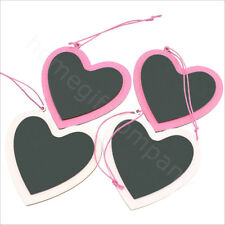 Gisela Graham Pink Chalkboard Wooden Gift Tags Hanging Hearts Home Decor - Pk 4