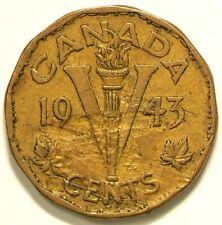 1943 Canada Tombac 5 Cents Major Lamination Error #7076