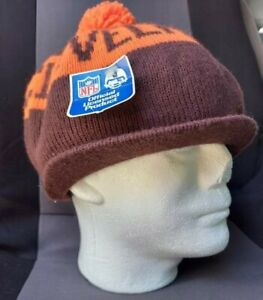 Vintage 70's Official NFL Cleveland Brown's Knit Cap w/ Bill NOS NWT Made in USA