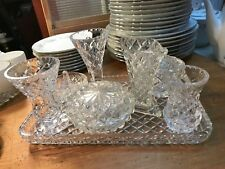 Vintage Collection of Crystal Glass Vases Trinket Bowls Ring Dish Dresser Plate