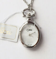 """Colibri Ladies Silvertone Pendant Watch with 24"""" Necklace, Mother of Pearl Face"""