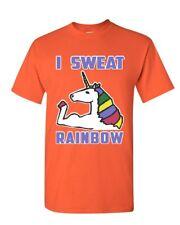 I Sweat Rainbows T-Shirt Fabulous Unicorn Gym Workout Fitness Mens Tee Shirt