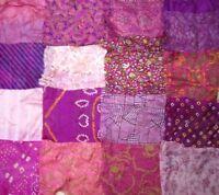 "LOT PURE SILK Vintage Sari Fabrics REMNANT 16 pcs 8"" SQUARES Pink Magenta CRAFT"