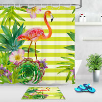 72x72'' Tropical Succulents Flamingo Shower Curtain Waterproof Fabric 12 Hooks