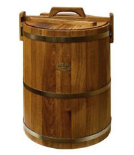 Wooden Bucket for Sauna Banya Made in Russia Oak Basket with Lid 4 Gal
