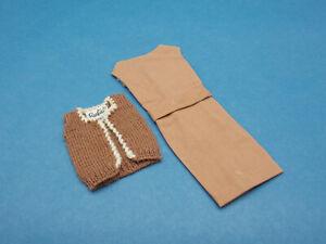 Vintage Barbie 1962 Sorority Meeting #937 Sweater Vest Dress Brown Barbie Tag