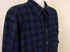 Vintage Pendleton Men's Button Up Shirt Long Sleeve 100% Virgin Wool Plaid Green