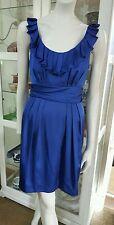 Pilgrim Brittish blue fine satin dress.Sz10.Fully lined.Has stretch.As new