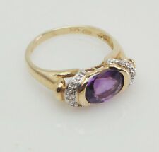 14k yellow gold amethyst and diamonds ring size 6