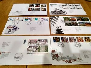 Six Britain 2005 First Day Covers UK FDCs Queen Ashes Cricket Motorcycles bikes