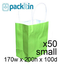 x50 LIME GREEN paper gift CARRY tote party BAGS with handles SMALL (170 x 200mm)