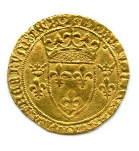 CHARLES VII (1422-1461) ECU D'OR A LA COURONNE 3° TYPE 6° EMISSION MONTPELLIER