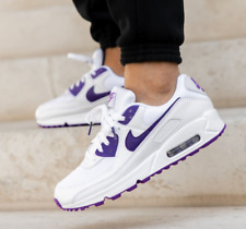 Nike Air Max 90 Running Shoes White Voltage Purple CT1028-100 Men's Multi Size