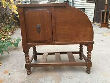 Vintage Antique Wooden Humidor Tobacco Copper Lined Magazine Table Stand