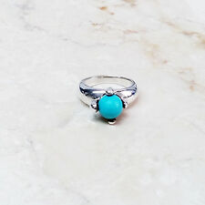 Rebecca Selva Turquoise Bead Sterling Silver Ring Size 8 HSN