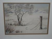Southwestern  winter landscape painting California framed signature unrecognized