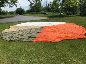 "Vietnam War Era Military USAF 25"" 4-Color Parachute Canopy 1979 (55C615)"