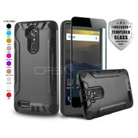 BRUSHED ARMOR HARD COVER PHONE CASE FOR [ZTE BLADE MAX 3] +BLACK TEMPERED GLASS