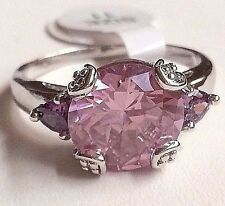 Silver Simulated Tourmaline Cocktail Ring Rhodium Plated Size 11 Pink USA Seller