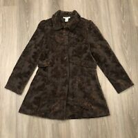 Vertigo Paris Womens Medium Brown Embroidered Button Coat Jacket