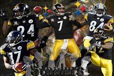 Pittsburgh Steelers Team Poster Ben Roethlisber 24x36 Banner Wall Art Home Decor