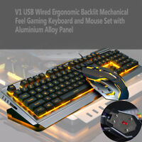 Backlit Mechanical Keyboard Wired USB Illuminated Ergonomic PC Gaming Mouse Set