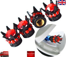 Black Crown Red Diamond Stones Alloy Car Tire Tyre Valve Dust Caps Covers Set 4