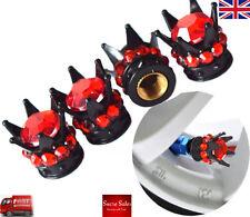 Corona Negro Rojo Diamante Piedras Aleación Coche Neumático Neumático Válvula Polvo gorras Covers Set 4