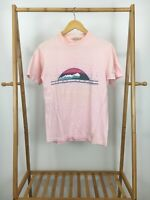 VTG 90s Hanes Lake Tahoe Mountain Souvenir Short Sleeve Pink T-Shirt Size M USA