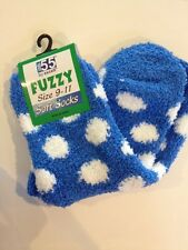1 Pair Warm Fuzzy Blue With White Polka Dots Socks 9-11