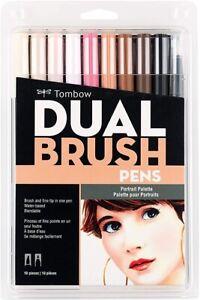 Tombow Dual Brush Pen Art Markers 10-Pack, Portrait Skin Tones Palette